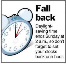 Fall Back Daylight saving time