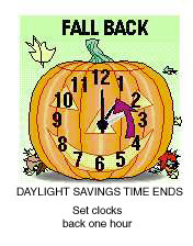 Fall back Daylight Savings Time Ends