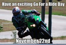 Have an exciting Go For a Ride Day November 22nd